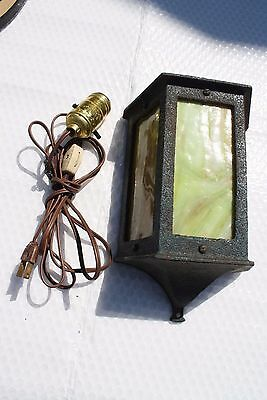 Antique Slag Glass Cast Iron Porch Wall Light Fixture Sconce