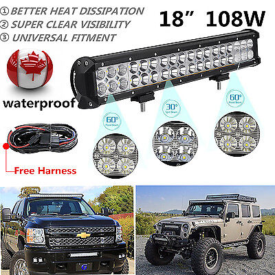18 inch CREE LED Light Bar SUV ATV Offroad Truck Jeep 17/20 + Wiring kit Harness