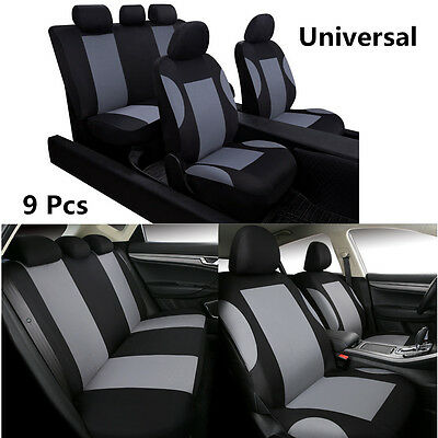9x Breathable Black&Gray Car Seat Covers Set For Car Front Rear Seats Headrests