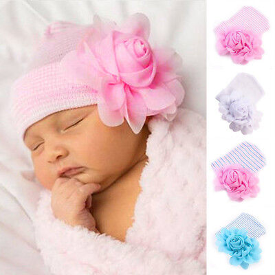 Soft Newborn Girls Infant Big Flower Beanie Hat Hospital Cap for 0-6 Months Baby
