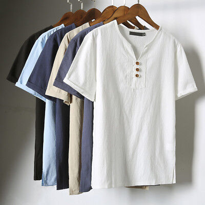 Men Fashion Short Sleeve V-Neck Breathable T-Shirt Plus Size Linen Top Modish