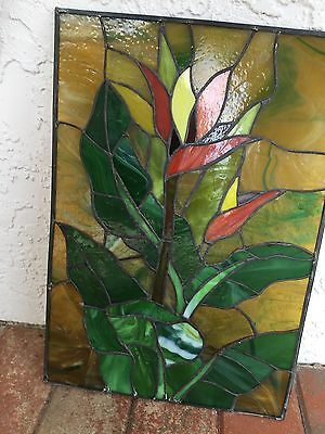 HAND CRAFTED STAINED GLASS TROPICAL Bird Of Paradise Floral WINDOW ~ 16 x 11