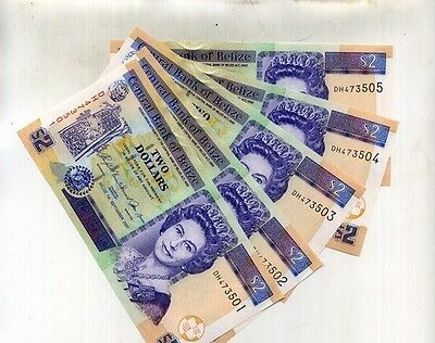 Belize 2009 $2 Currency Note Choice Cu Lot Of 5 Consecutively Numbered