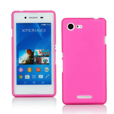 TPU Gel Case + Screen Protector for Sony Xperia E3 - Pink Frosted Pattern
