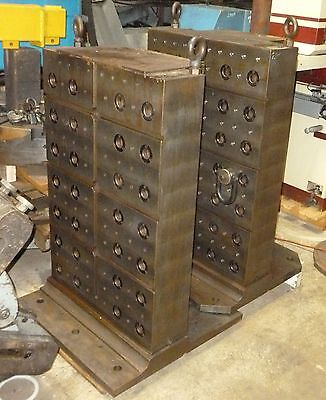 "2 Machining Center Tombstone Fixtures W/ Jergens Ball Lock Receivers 31"" Sq Base"