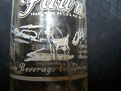 Antique Clear Glass FAWN Soda Bottle ~ Elmira, NY