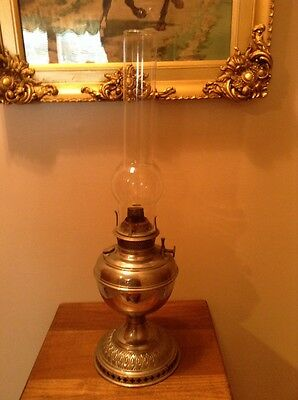 Antique Bradley and Hubbard 1800's nickel plated oil lamp with wick