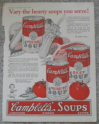 CAMPBELL'S VEGETABLE BEEF SOUP VINTAGE ADVERTISEMENT McCALL'S MAY 1925 ORIGINAL