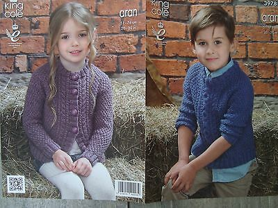 King Cole 3978 Child's Aran Sweater & Cardigan Knitting Pattern Sizes 20-30""