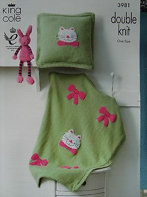 King Cole 3981 Baby Blanket With Cat Motif & Cushion DK  Knitting Pattern
