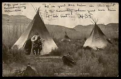 Bad Land Charley in camp old 1900s Indian Native American Postcard