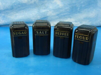 Vintage Ceramic Black Salt Flour Sugar Pepper Shakers Excellent Condition!