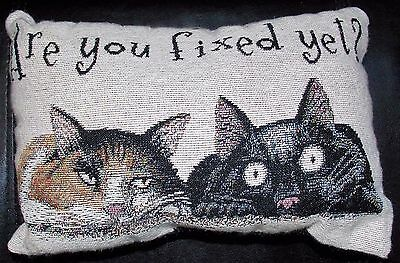 Cat Pillow Small Tapestry Throw Pillow Are You Fixed Yet? Calico & Black Cats