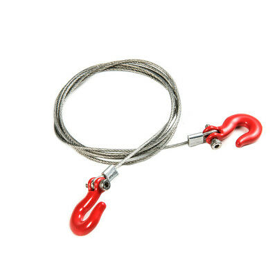 Steel Tow Wire Metal Hooks Tow Rope Red For RC 1/10 Axial SCX10 RC4WD Crawler