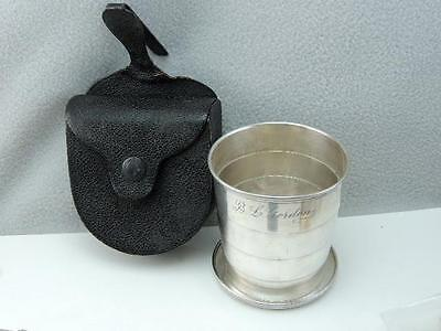 ANTIQUE GORHAM STERLING SILVER TRAVEL CUP w LEATHER CASE 1899 LOOK
