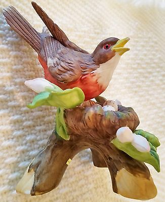 "Porcelain BIRD Robin Red Breast on Nest with 3 Eggs 6+"" - FREE SHIPPING"