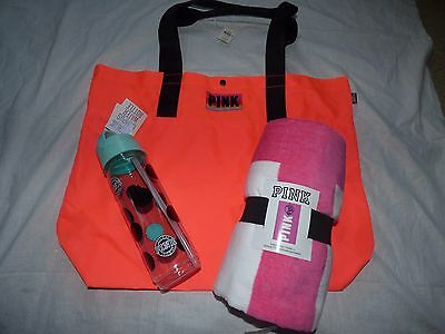 Victoria's Secret Pink Water Bottle, Large Tote, Pink Beach Towel Lot New Nwt