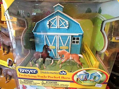 Breyer Horses #5932 Stablemates Frolicking Palomino & Bay Foals Blue Pocket Barn