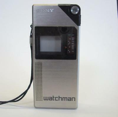 Portable SONY FD-210 First Generation Flat Black and White TV