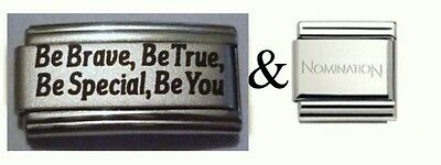 Italian Charms L81 Be Brave Be True  plus 1 x Genuine Nomination Link