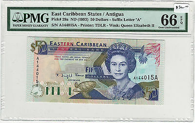 East Caribbean States / Anguilla Pick 29a ND (1993) $50 PMG MS66 EPQ