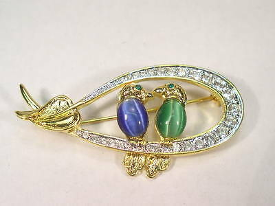 Designer Dolphin Ore NICKEL FREE  BIRD pin brooch surrounded with CRYSTALS