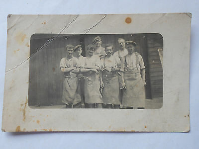 Vintage Real Photo Postcard Group of Workers possibly foundry workers