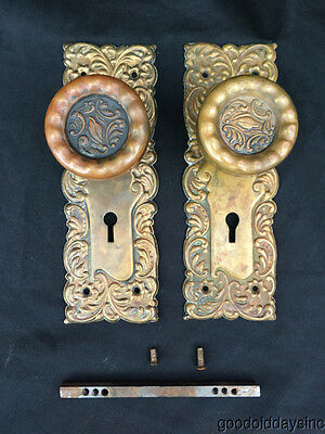 Set of Antique Ornate Brass Door Knobs Circa 1900
