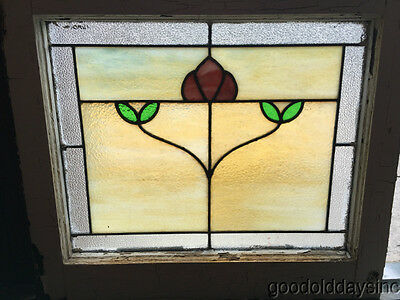 Antique Chicago Bungalow Style Stained Leaded Hammered Glass Window Craftsman