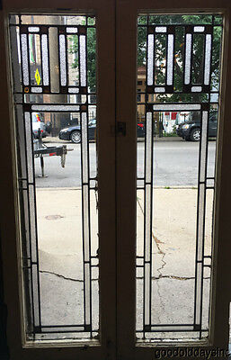 """2 Antique Prairie Style Stained Leaded Glass Doors / Windows 45"""" x 14"""""""