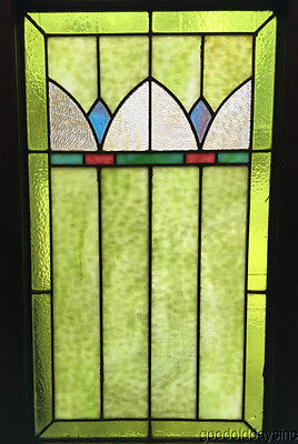 "Antique Art Deco Stained Leaded Glass Window 33"" by 20"" Circa 1925"
