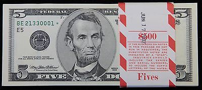 Kappys Bundle Of 100 Series 1999 $5.00 Star Notes Consecutive Sn Gem Crisp Unc