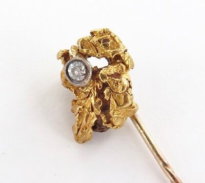 Rare / Stunning / Antique Gold Nugget Stick Pin Set With Old Cut Diamond.