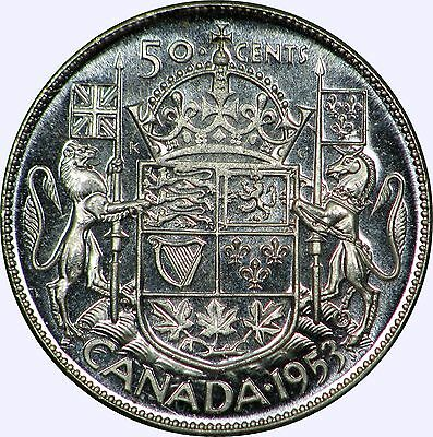 1953 Canada Fifty Cents Large Date No Shoulder Fold (NSF) GEM Prooflike