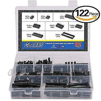 Glarks 122Pcs 2.54mm Pitch DIP IC Sockets Solder Type Adaptor Assortment Kit (6