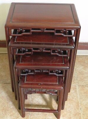 * Vintage Beautiful Wooden Chinese 4-Stack Nesting Tables *