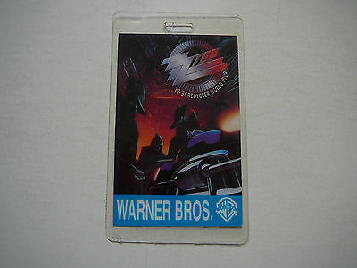 Zz Top Recycler World Tour Laminate Pass 1990-1991