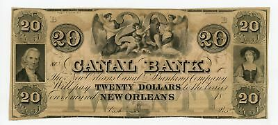 1800's $20 The Canal Bank - New Orleans, LOUISIANA Note UNC