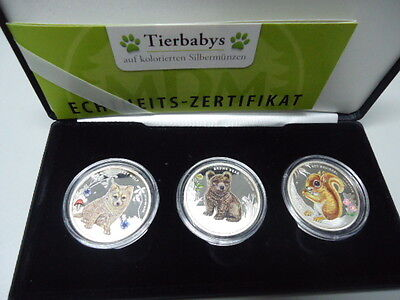 TUVALU 2013 - 3 x 50 Cents in Silber (1/2 Unze), PP - FOREST BABYS in Farbe!