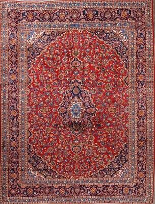 "Hand Knotted Traditional Red 9x12 Kashan Persian Oriental Area Rug 12' 4"" x 9' 2"