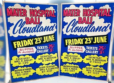 .INCREDIBLY RARE c1950's MATER HOSPITAL BALL, CLOUDLAND LARGE ADVERTISING SIGNS