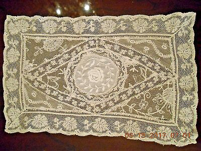 """Antique Normandy Lace Silk Embroidered Centerpiece Doily 11.5x7.5"""""""