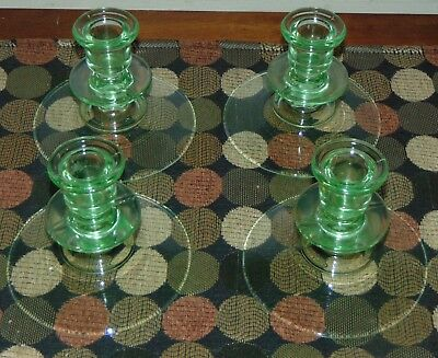 FOUR ANTIQUE Candle Holders VASELINE GLASS Candlesticks