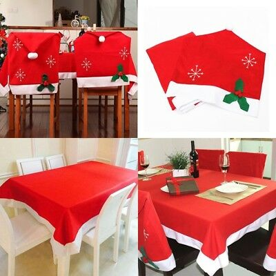 Santa Claus Red Hat Chair Back Cover Tablecloth for Christmas Dinner Table Decor