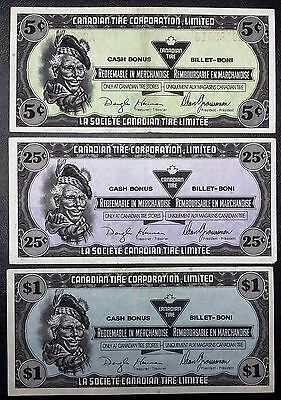 Collection of 3x 1989 Canadian Tire Money Notes - 5, 25 Cents, & $1 Dollar