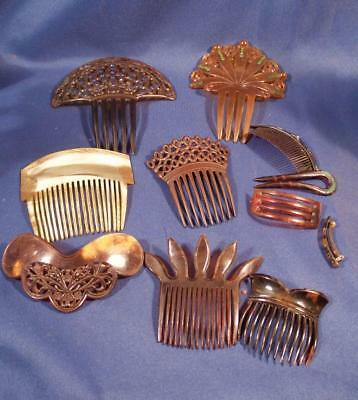 Lot 11 Antique Victorian Style Hair Combs Plastic Celluloid Large Rhinestone