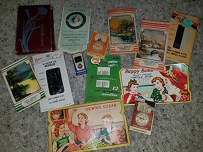 Lot Of 13 Antique Vintage Advertising Souvenir Sewing Pin Needle Books Holders