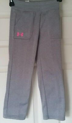 New Under Armour Kids Girls All Season gray/Pink Sweatpants Long Pants Size: 5