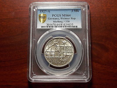 1927 Germany Weimar Republic MARBURG 3 Mark silver coin PCGS MS-64