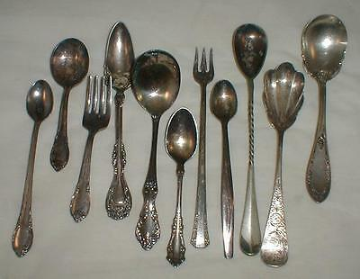 Lot Of 11 Silver Plate Spoons Fork Vintage Rogers